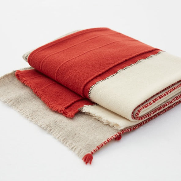 Merino Wool Throw - Criss Cross - Terracotta & Off White