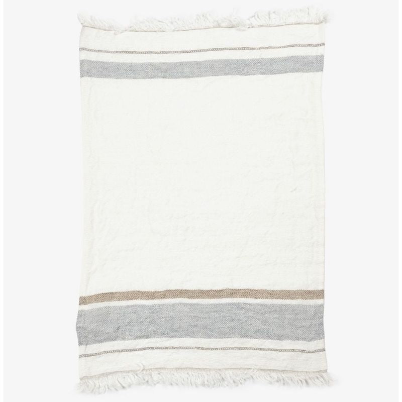 Belgian Linen Throw & Towel - Oyster Stripe