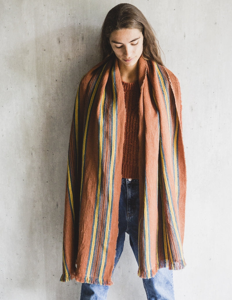 Belgian Linen & Wool Shawl - San Francisco, Crimson