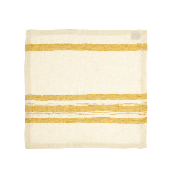 Belgian Linen Table Napkin - The Library Stripe