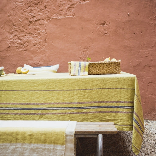 Belgian Linen Tablecloth - The Patio Stripe