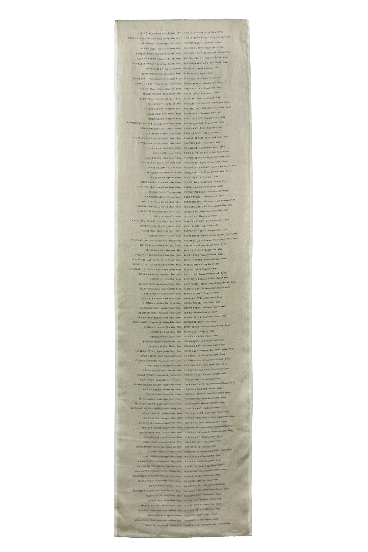Linen Table Runner with a List of Oysters