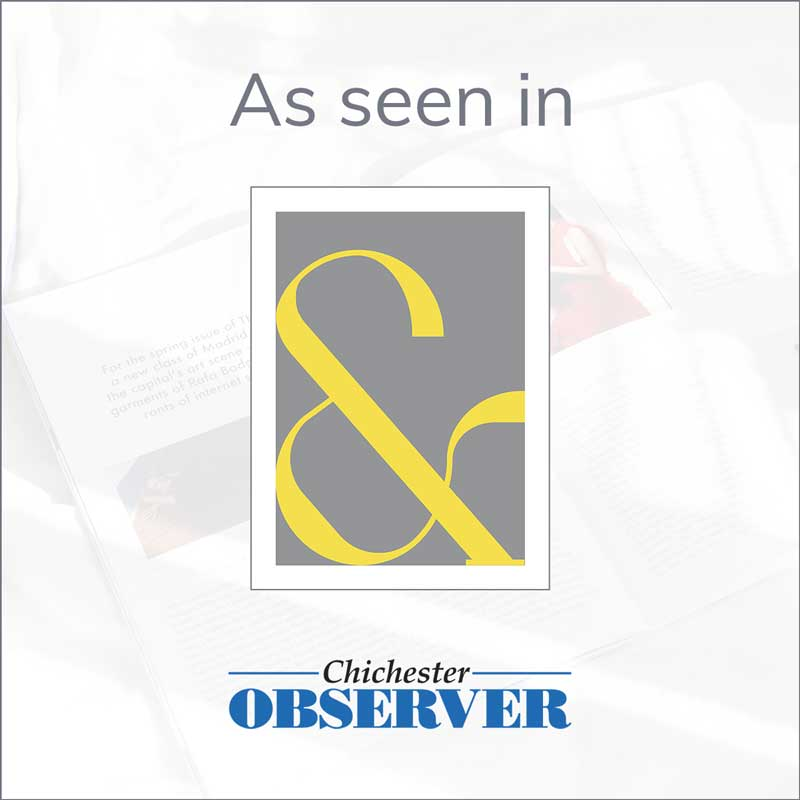 Claude & Leighton yellow Contemporary Ampersand art print features in the Chichester Observer