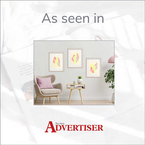 Claude & Leighton set of 3 Summer fruit pastel abstract art prints as featured in the Herts Advertiser newspaper 14 April 2021