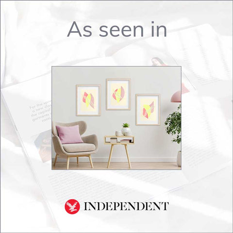 Claude & Leighton set of 3 Summer fruit pastel abstract art prints as featured in the Independent newspaper 1 April 2021