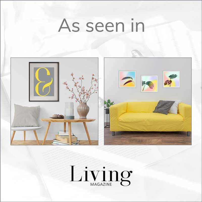 Claude & Leighton ampersand art print & pastel leaves art prints feature in Monmouthshire Living magazine