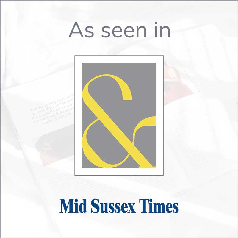Claude & Leighton yellow Contemporary Ampersand art print features in the Mid Sussex Times