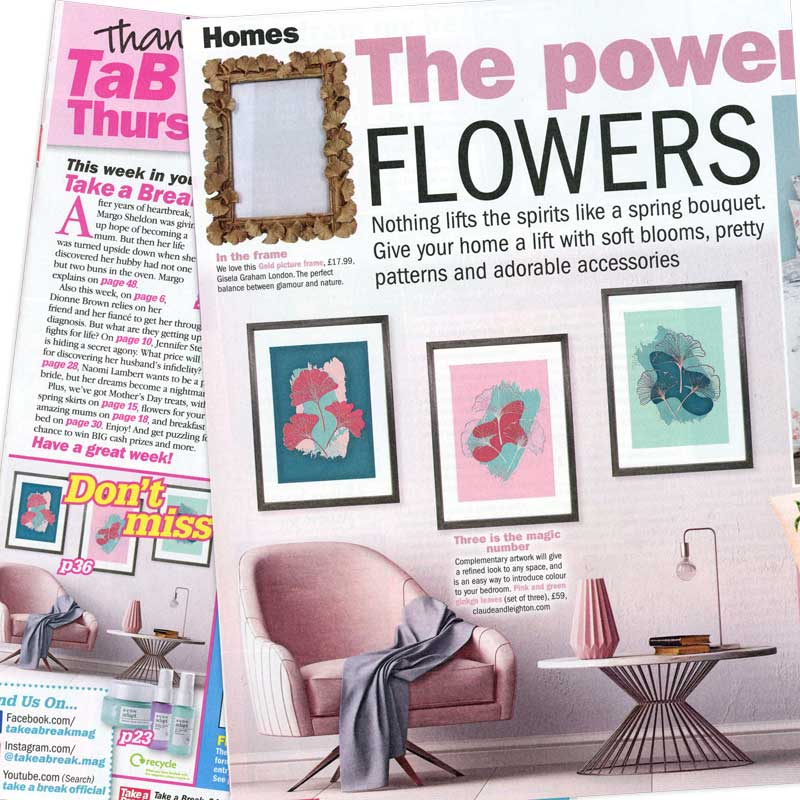 Take a Break Magazine features Claude & Leighton Set of 3 Pink & Green Ginkgo Leaves art prints