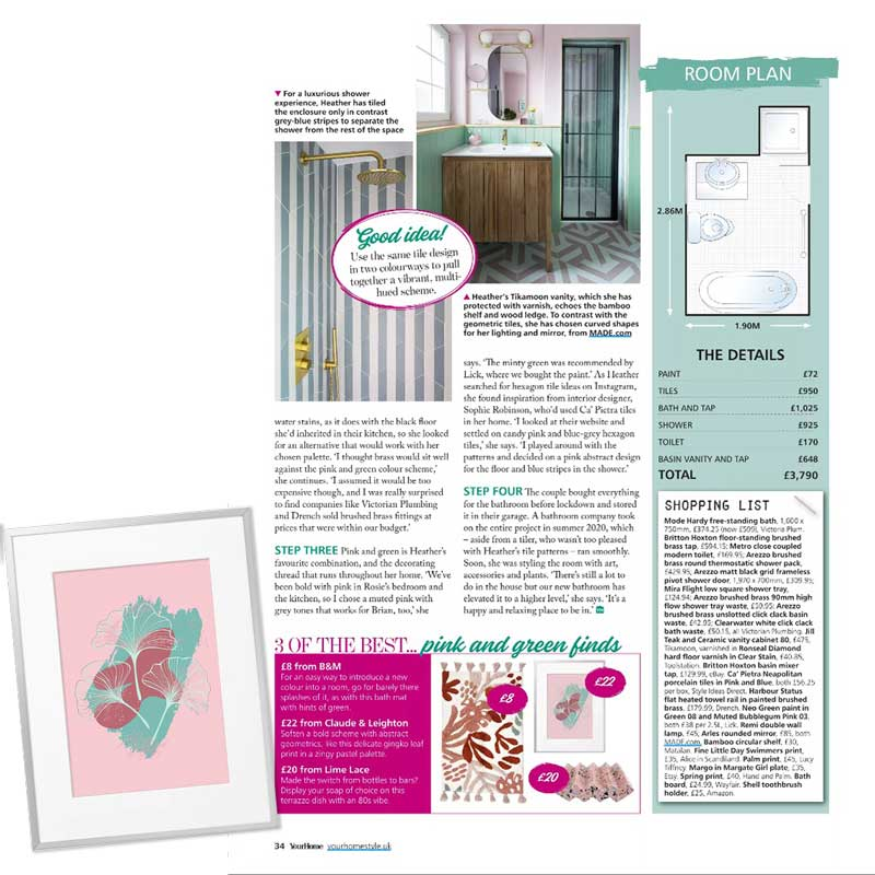 Claude & Leighton Green Ginkgo Leaves on Pink art print featured in Your Home Magazine in May 2021
