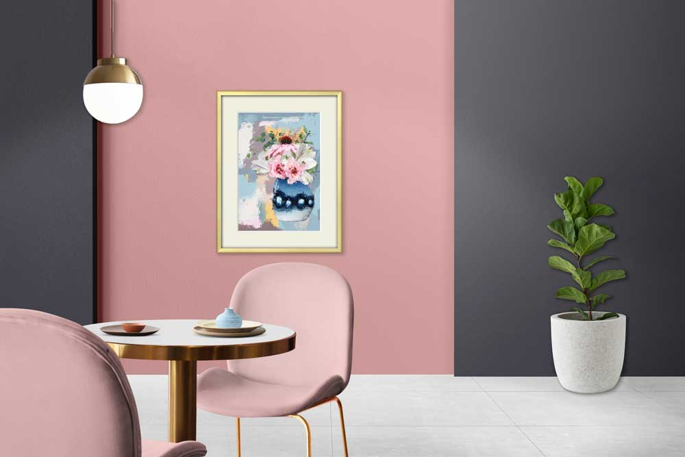 Claude & Leighton botanical Blue Vase of Pink & White Flowers art print ties in so well with Dulux Bright Skies Studio palette