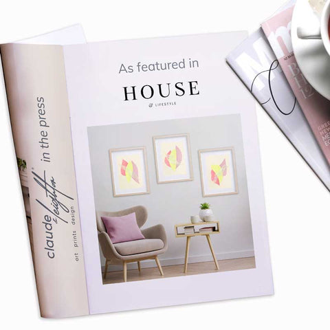 Claude & Leighton Summer fruit pastel abstract art prints as featured in House & Lifestyle magazine May 2021