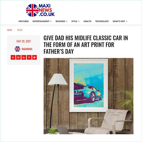 Claude & Leighton Porsche 911 Turbo classic car art print featured on MaxiNews website in May 2021