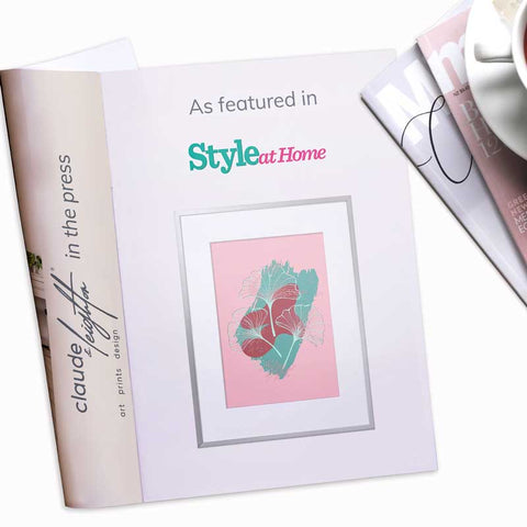 Claude & Leighton green & pink Ginkgo Leaves art print featured in Style at Home magazine June 2021