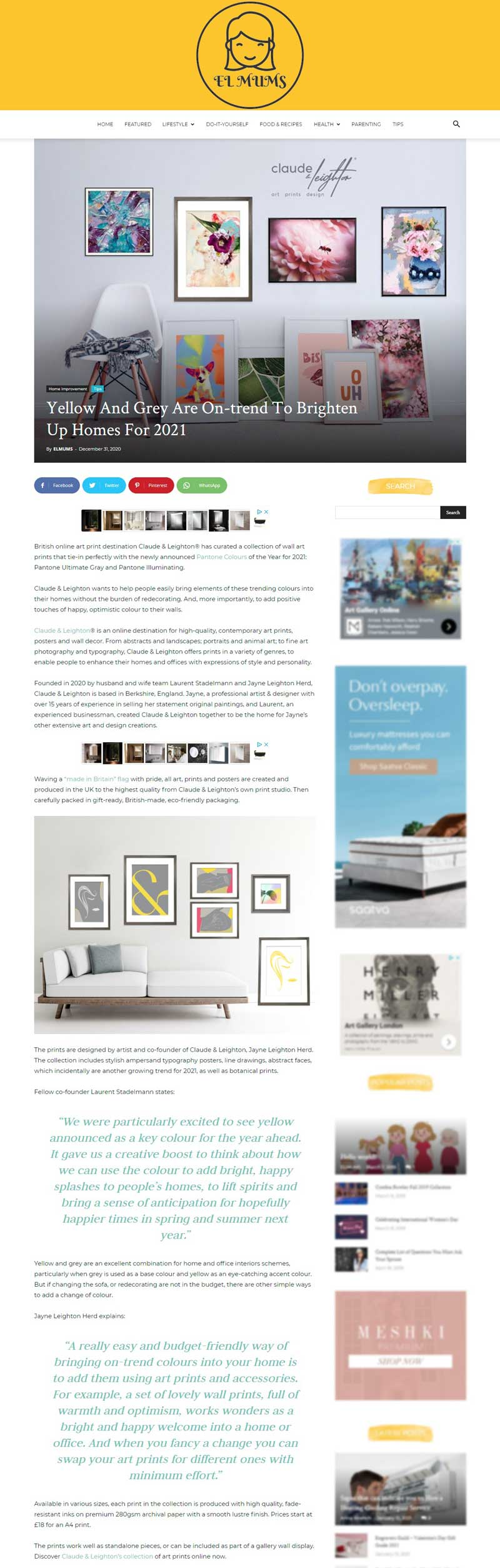 Claude & Leighton featured on El Mums about art prints in Pantone 2021 colours