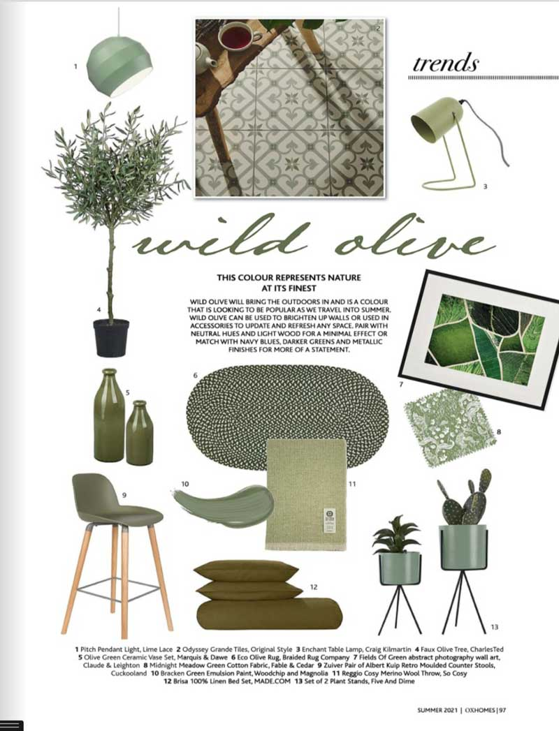 Claude & Leighton Fields of Green abstract photography art print featured in OX Homes magazine Summer 2021
