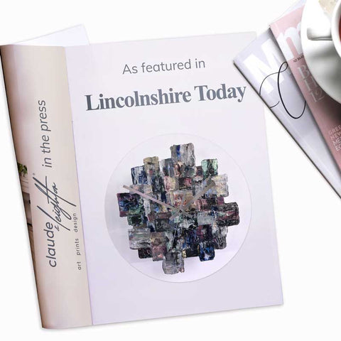 Claude & Leighton handpainted round glass wall art clock featured in Lincolnshire Today Magazine October 2021