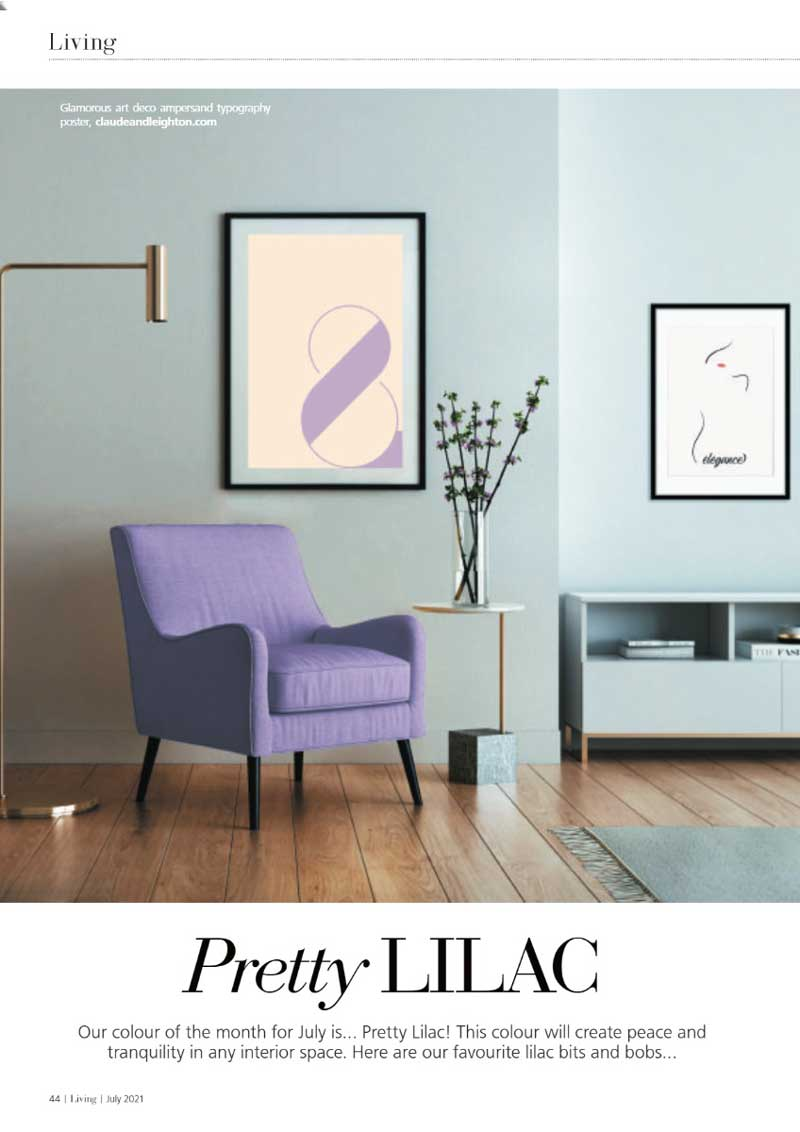 Claude & Leighton Glamorous Art Deco ampersand typography art print featured in Living Magazine in July 2021