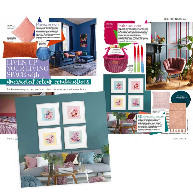 Claude & Leighton Pastel Abstract Floral art prints featured in Your Home Magazine in July 2021