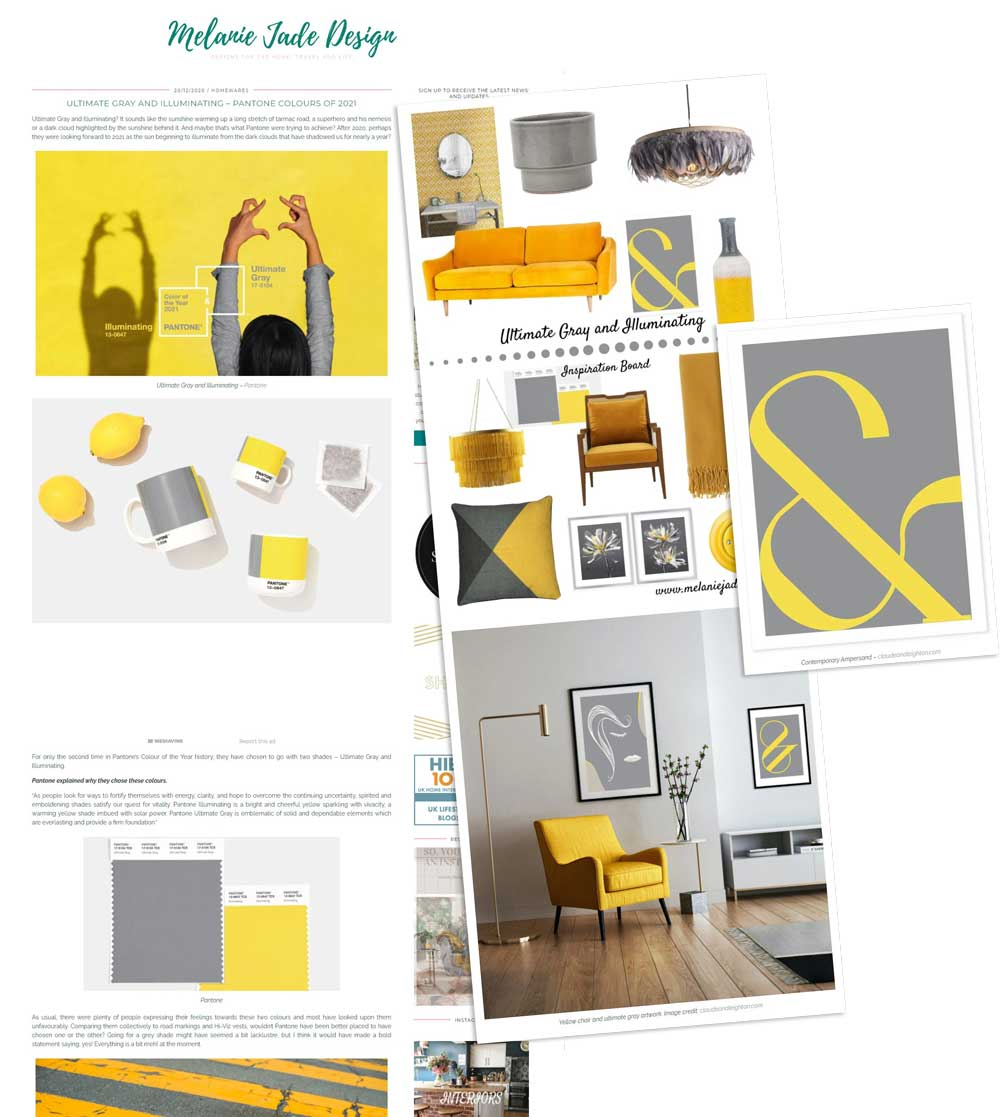 Claude & Leighton art prints featured in Melanie Jade Design's look at Pantone Colours of the Year 2021