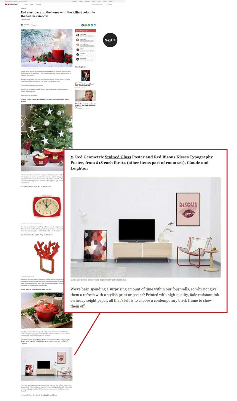 Claude & Leighton wall art prints in hot list for 12 fabulous red products