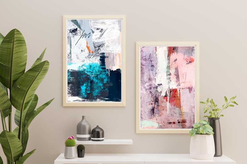 Blue & pink abstract art prints by Claude & Leighton