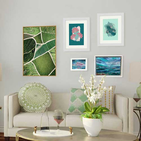 Green art prints & posters in living room with green accents & accessories