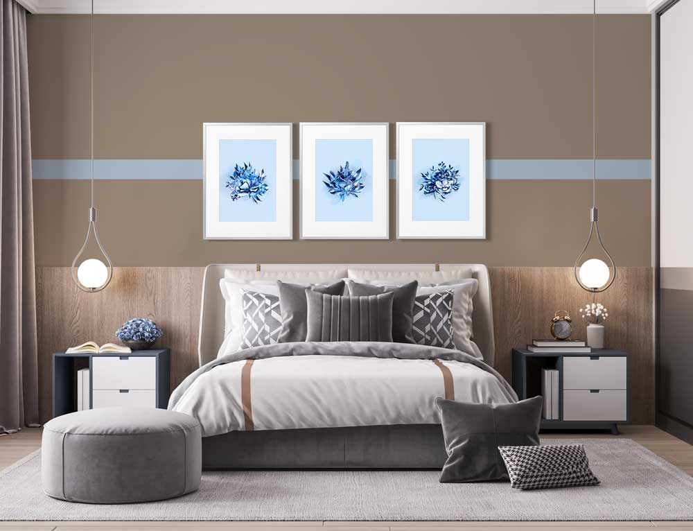 Claude & Leighton Blissful Blue Leaves art prints tie in well with Dulux Colour of the Year 2022 Bright Skies