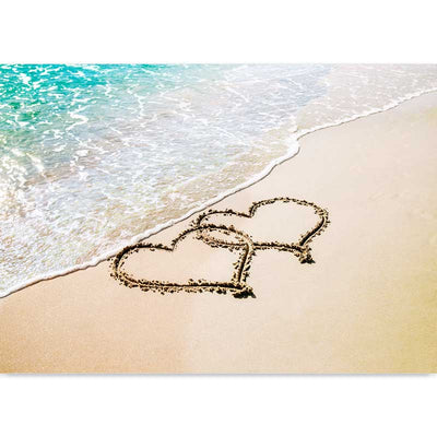 Beach Love Hearts photography art print - love hearts in the sand by Claude & Leighton
