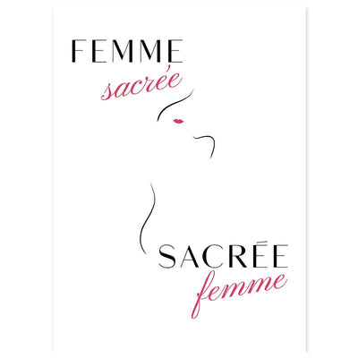 Femme Sacrée, Sacrée Femme - French typography line art print by Claude & Leighton