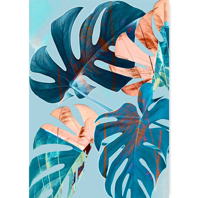 Blue & Copper Monstera Leaves Abstract Wall Art Print by Claude & Leighton