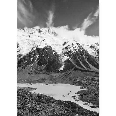 New Zealand Mount Cook Black & White Photography Art Print - buy at Claude & Leighton