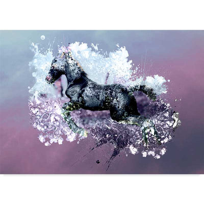 Abstract Jumping Black Horse on Purple Poster - Claude & Leighton