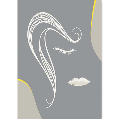Illuminating Yellow/Ultimate Gray Abstract Lines Female Face Poster at Claude & Leighton