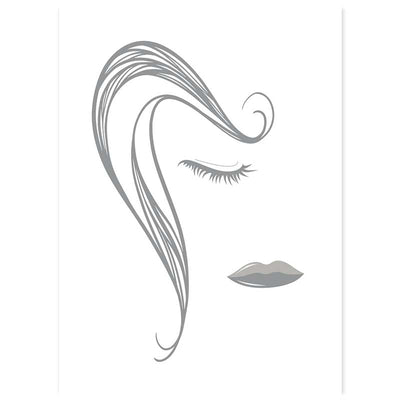 Abstract Lines Female Face Poster - ultimate gray on white - Claude & Leighton