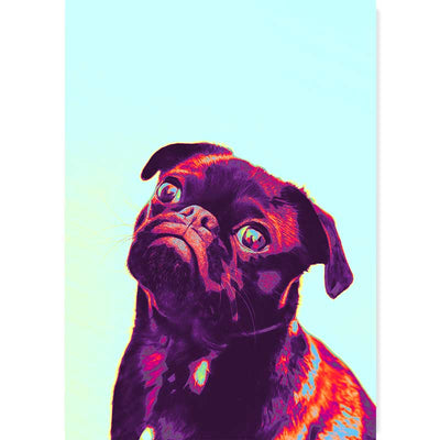 Please Forgive Me Abstract Pug Dog Art Poster - Claude & Leighton