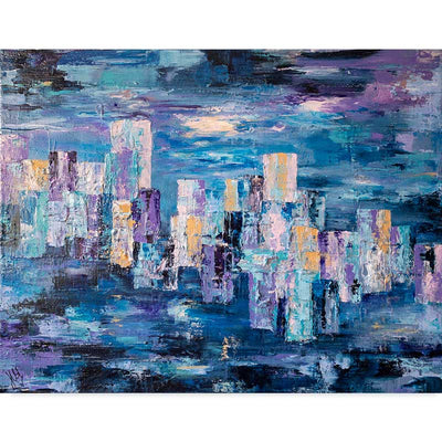 Blue Abstract Cityscape Art Print - City Life I by Jayne Leighton Herd - Claude & Leighton