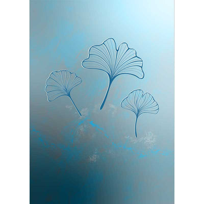 Blue Ginkgo Leaves Trio Dark Art Poster Print - Claude & Leighton