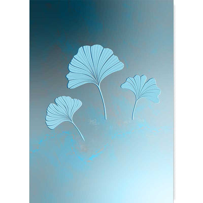 Blue Ginkgo Leaves Trio Light Art Poster Print - Claude & Leighton