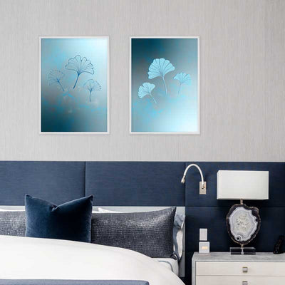 Set of two Blue Ginkgo Leaves Trio Light & Dark Art Posters Prints in bedroom - Claude & Leighton