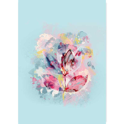 Pastel blue abstract floral leaves wall art print by Claude & Leighton
