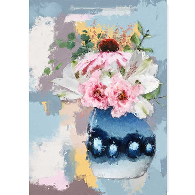 Blue Vase of Pink & White Flowers Art Print - Claude & Leighton