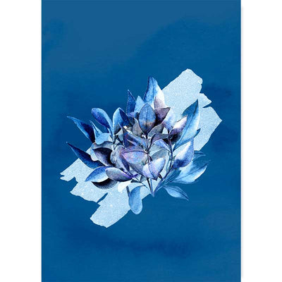 Classic Blue Bouquet I Botanical Wall Art Print - watercolour flowers and foliage wall decor at Claude & Leighton