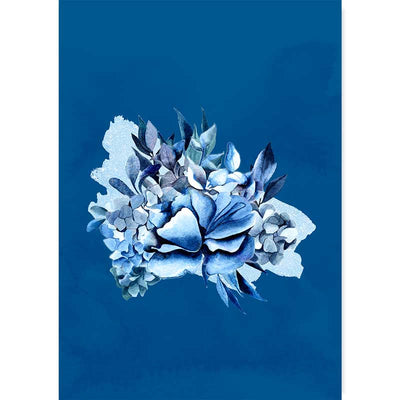 Classic Blue Bouquet II botanical wall art print - watercolour flowers and foliage wall decor at Claude & Leighton