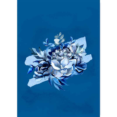Classic Blue Bouquet III botanical wall art print - watercolour flowers and foliage wall decor at Claude & Leighton