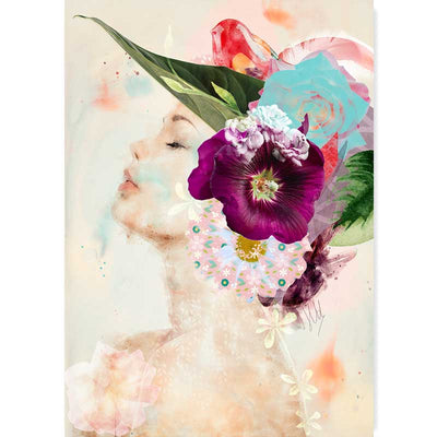 Lady with the Magenta Flower Portrait Art Print - Claude & Leighton