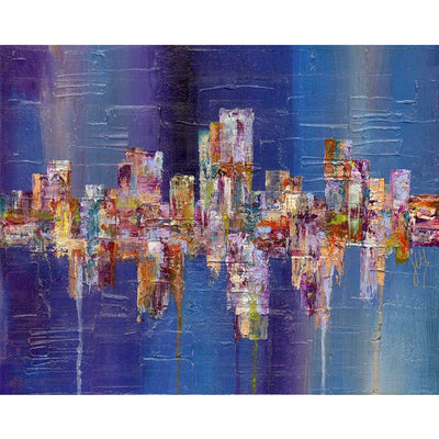 Blue & multicoloured abstract cityscape art print - Claude & Leighton