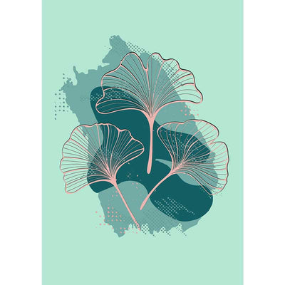 Pink Ginkgo leaves on Green abstract botanical art poster - Claude & Leighton