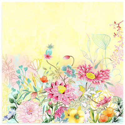 Pink & Yellow Pastel Flower Garden Art Print - floral & botanical art by Claude & Leighton