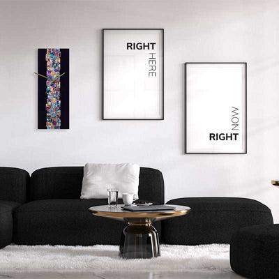 Set of 2 black & white Right Here Right Now typography posters - lounge framed - Claude & Leighton