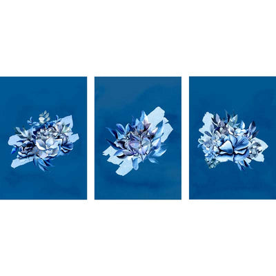 Set of 3 Classic Blue Bouquet II botanical wall art prints - watercolour flowers and foliage wall decor at Claude & Leighton
